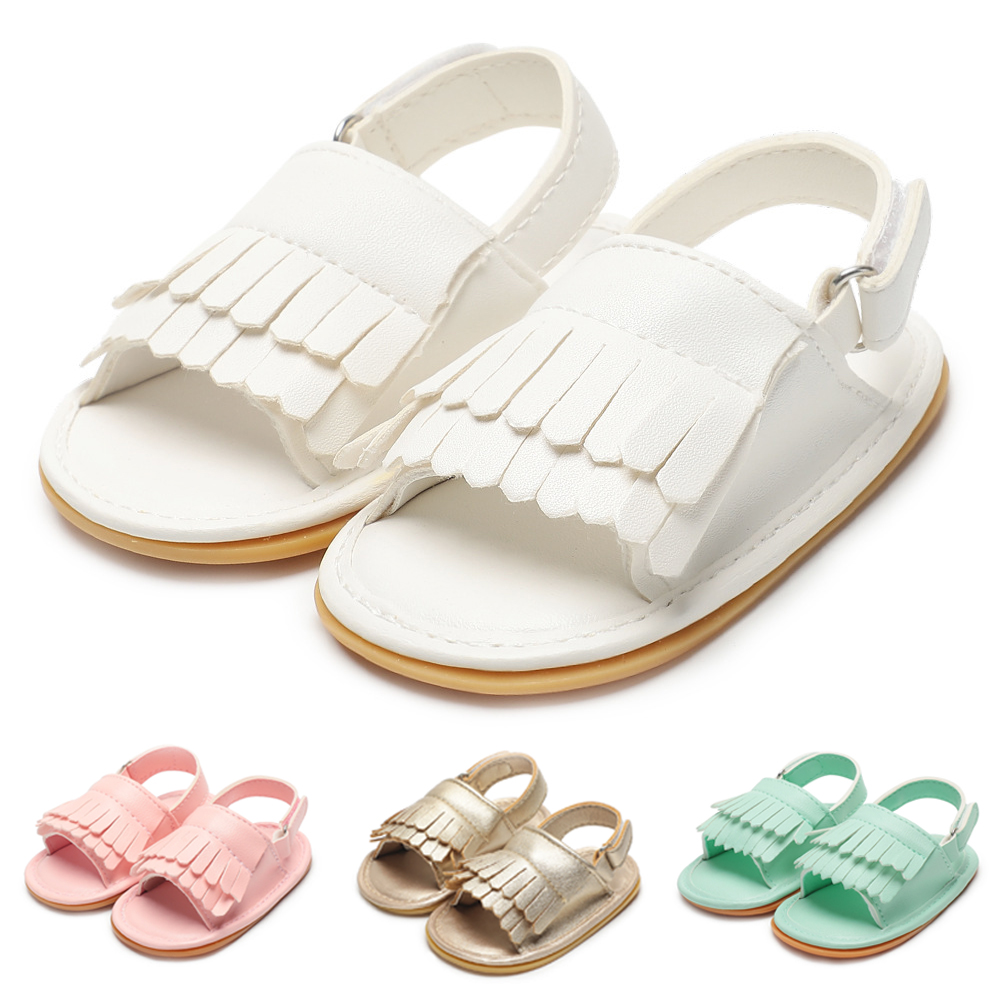 Summer Baby Girl Boy Sandals Fringe Newborn Infant Toddler PU Soft Anti-Slip Rubber Sole First Walkers Princess Crib Shoes