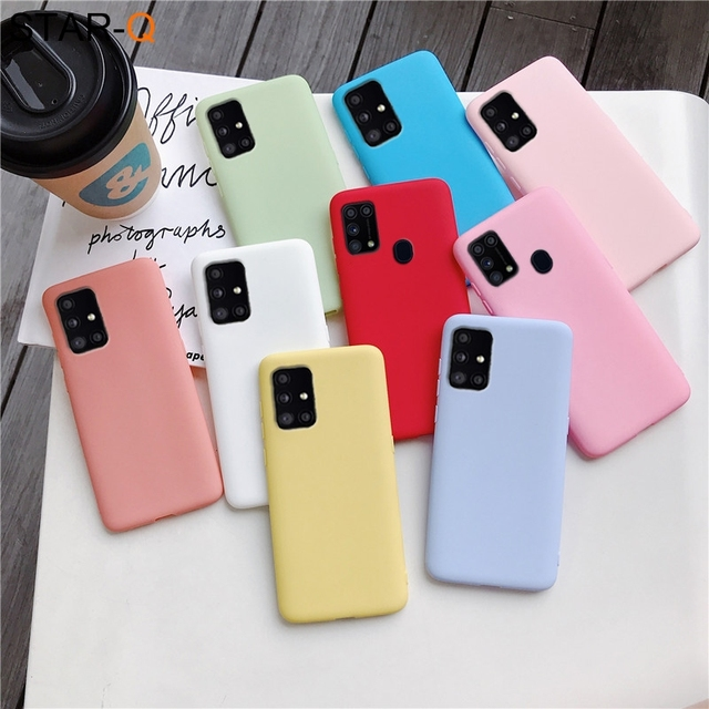 candy color silicone phone case for samsung galaxy a51 a71 5g a31 a11 a41 m51 m31 a21s a91 A81 A01 matte soft tpu cover 3