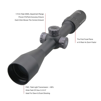 Vector Optics Marksman 6-24x50 FFP Tactical Riflescope Hunting Rifle Scope Side Focus Min 10Yds 1/10MIL Adjustment .30 06 Win 4