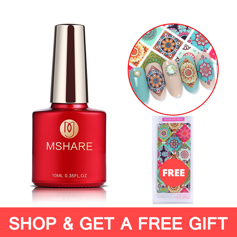 MSHARE Nail Transfer Foil Glue Gel Polish Nails Adhensive Transfering With Free Foil Sticker 10 Types