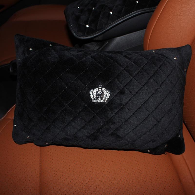 Winter-Crown-Crystal-Car-Seat-Headrest-Pillow-Plush-Auto-Neck-Waist-Support-Pillows-Gear-Handbrake-Cover-3