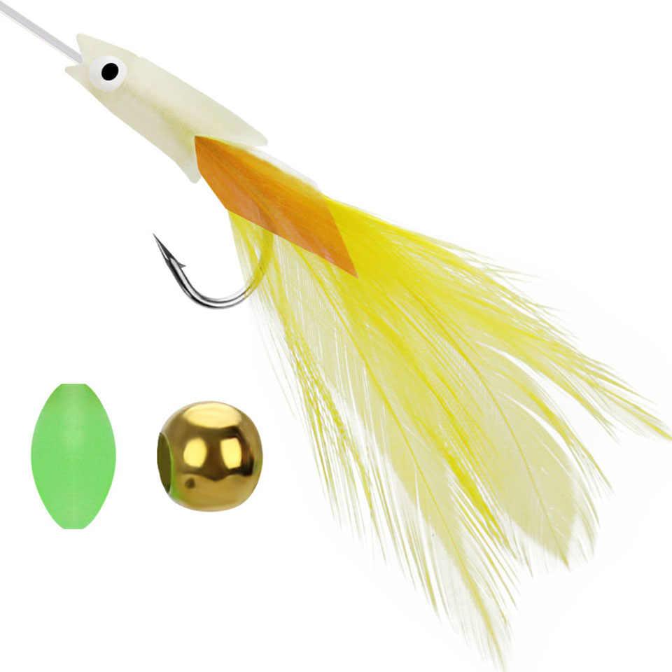 Crochets de pêche lumineux en acier au carbone plume hameçon ensemble crochet barbelé pour accessoire de pêche à la carpe basse