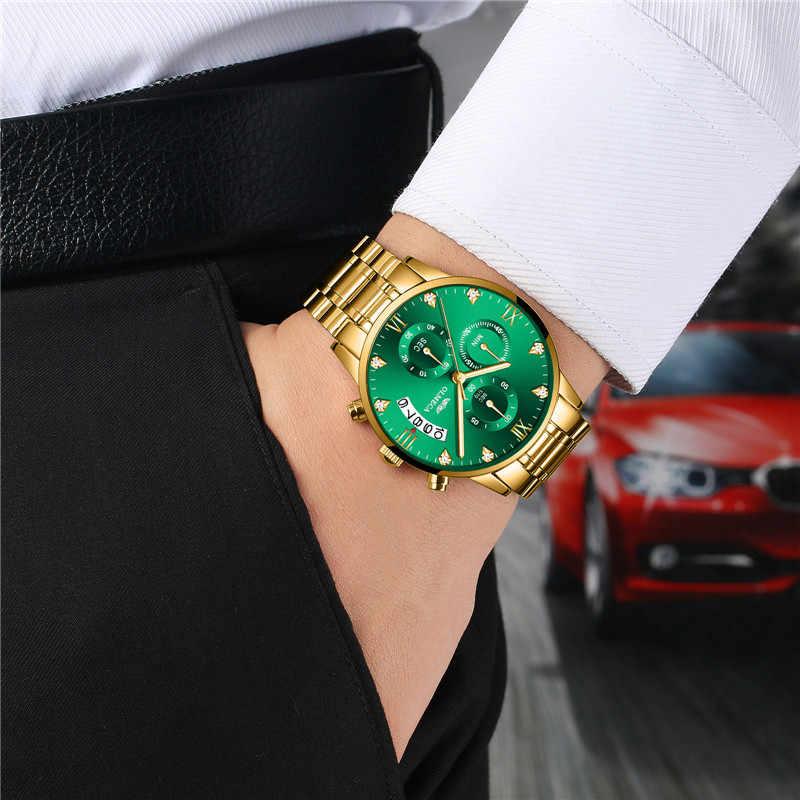 OLMECA יוקרה מותג זהב הכרונוגרף קוורץ שעון גברים נירוסטה תאריך גברים של שעוני יד למעלה זכר שעון relogio masculino