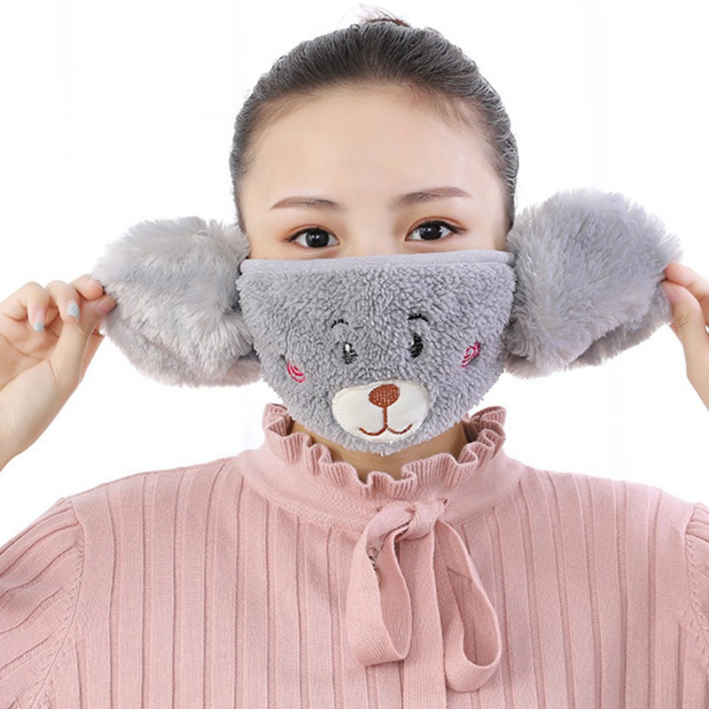 Ladies Fashion Winter Cartoon Bear Dust Winter Mask Ear Windproof Warm Face Mouth Cover