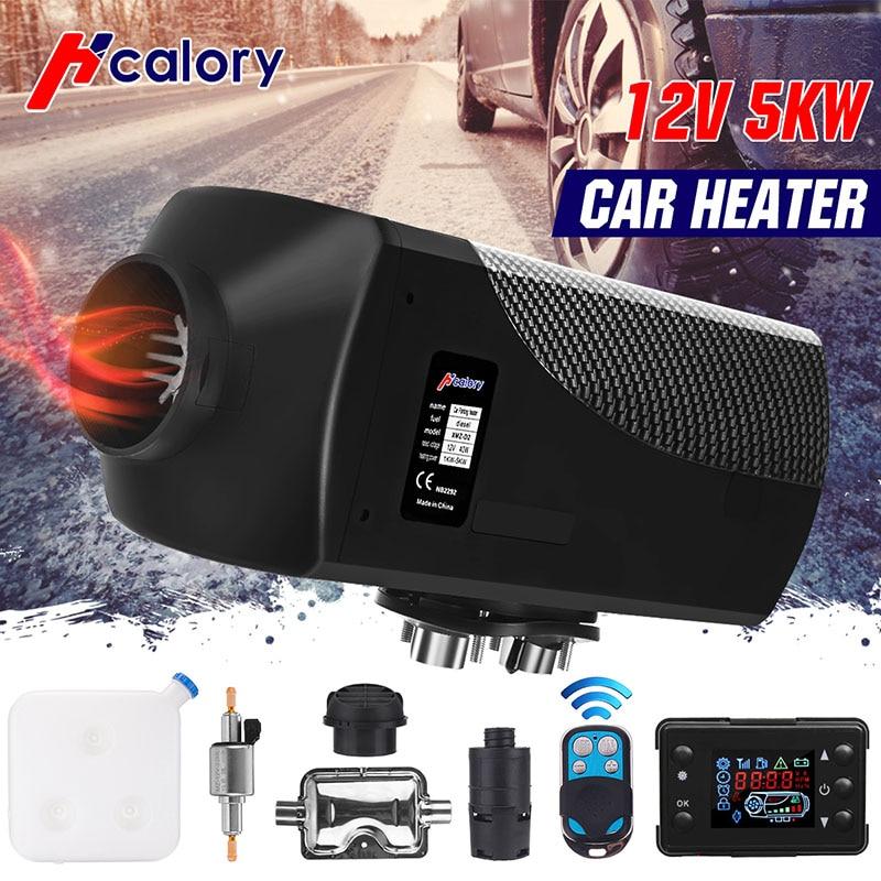 Calentador de aire para coche 5kW 12V, calentador de estacionamiento diésel con Control remoto, Monitor LCD para RV, autocaravana, remolque, camiones, barcos
