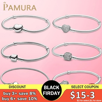 TOP SALE 6 Styles 925 Sterling Silver Heart Snake Chain Bracelet For Women Fit Original Pamura Charm Beads Jewelry Gift