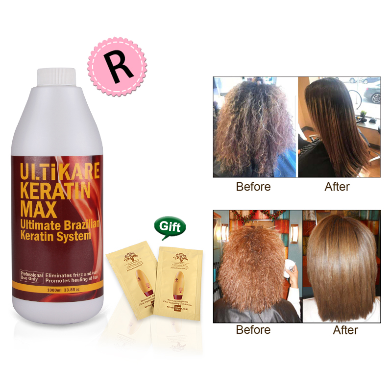Hot Sale 1000ml Brazilian Keratin Hair Treatment 12% Formalin Straighten and Repair Damaged Hair Mask Free Shipping