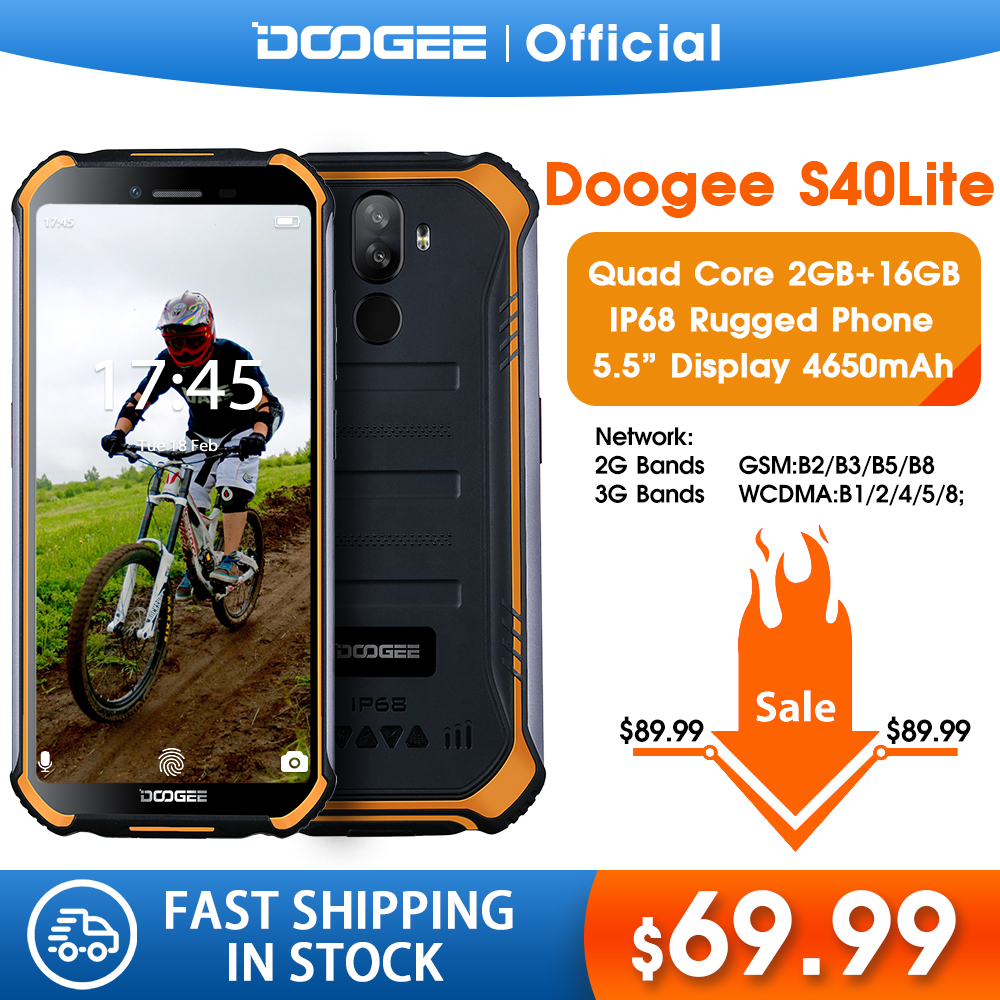 DOOGEE S40 Lite IP68 Quad Core 2GB 16GB Android 9.0 Rugged Phone Mobile Phone 5.5inch Display 4650mAh 8.0MP Fingerprint