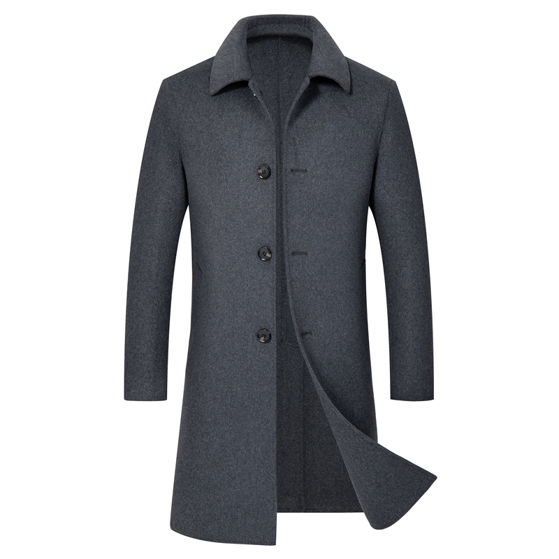 High Quality 100% Woolen Coat Men's Autumn-winter Business Casual Single-breasted Long Trench Coat Men's Double-sided Wool Coat