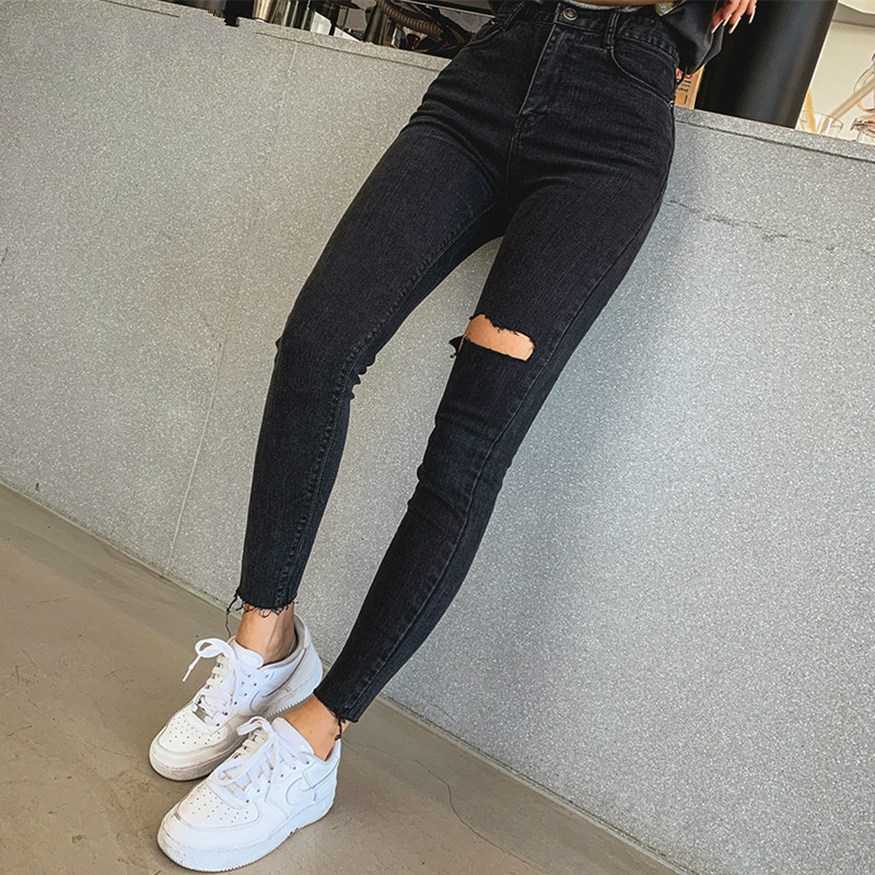 Sexy Elastic Tassel Ripped Holes Denim Pants Female Trousers 2019 High Waist Stretch Pencil Jeans Women Skinny Pants Black Jeans