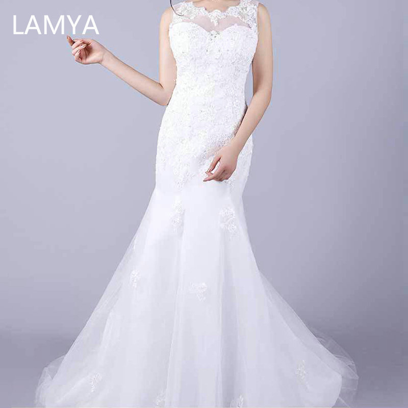 LAMYA Embroidery Lace Mermaid Wedding Dress 2019 Elegant Bridal Gowns Plus Size Wed Dresses Customized Vestidos De Novia