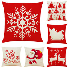 45x45 Square Pillow Cover Cushion Case Toss Pillowcase Merry Christmas Polyester Linen Pillows Christmas Style Pattern Pillow(China)