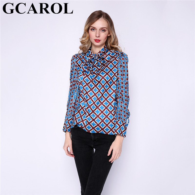 GCAROL New Women Geometric Floral Blouse Spring Fall Ladies Bowknot Shirt  Asymmetric Vintage Streetwear Basic Tops