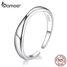 Bamoer, кольца для женщин с неровной океанской волной, 925, серебряное кольцо, свободный размер, регулируемое кольцо для женщин, модное ювелирное изделие SCR630