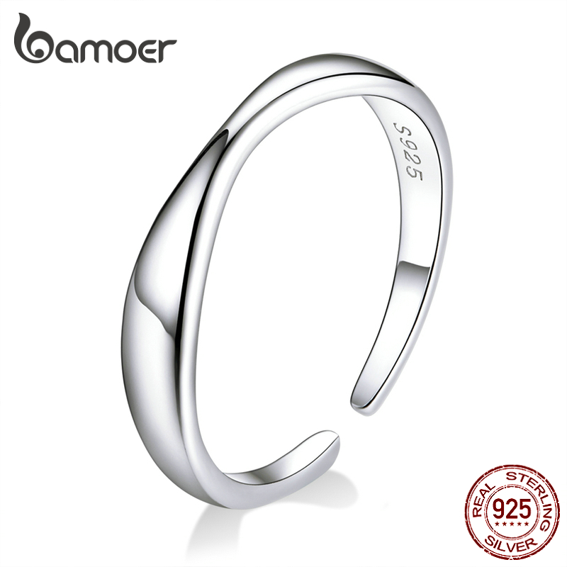 Bamoer Irregular Ocean Wave Finger Rings For Women 925 Stelring Silver Free Size Adjustable Ring Female Fashion Jewelry SCR630