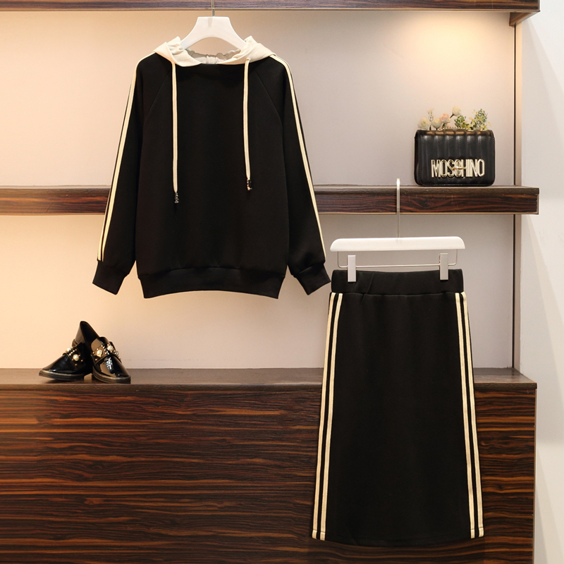 Plus Size 5XL Tracksuit Autumn Winter Women Sports Skirt Suit Hooded Sweater 2 Piece Set Top Sweater Skirt Casual Sweater Set