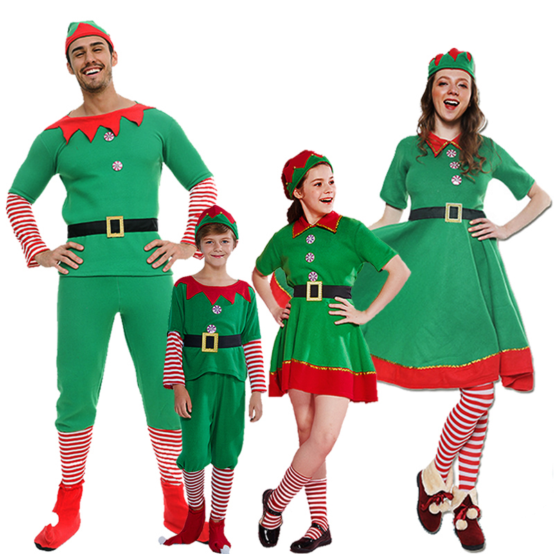 Classic Christmas Elf Cosplay For Children Christmas Spirit Costume Adult Women Santa Claus Dress Kids Xmas Hat Family Outfit