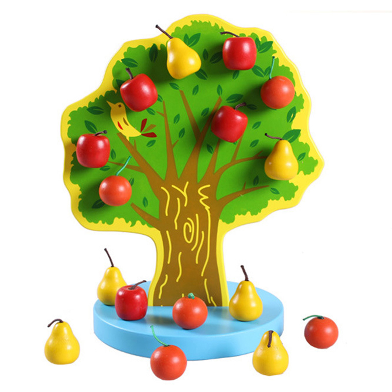 New Montessori Materials Educational Wooden Toys DIY Magnetic Apple Pear Tree 3D Puzzles Toys For Children Free Delivery
