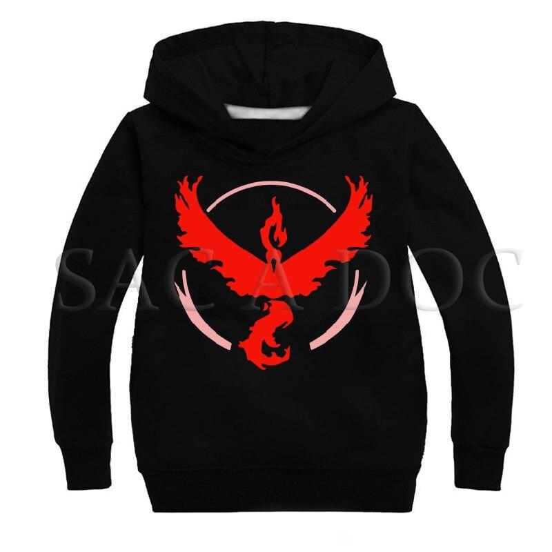 Pokemon Team Instinct/Mystic/Valor Kids Hoodies Boys Girls Baby Sweatshirt Autumn Winter Outwear Hoodies Children's Sweatshirts