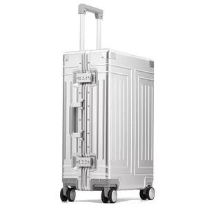 Image 2 - Nova qualidade superior 100% de alumínio magnésio bagagem viagem 20/24/28 polegada marca trolley mala spinner embarque rolando bagagem