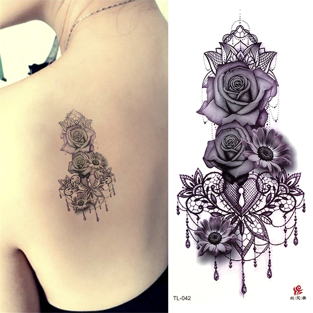 Beauty 1piece Make Up Fake Temporary Tattoos Stickers Rose Flowers Arm Shoulder Tattoo Waterproof Women Big Flash Tattoo On Body