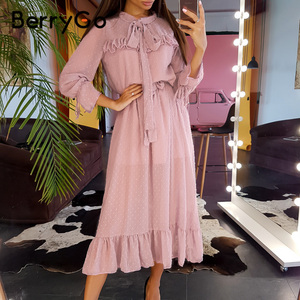Image 5 - BerryGo Elegant floral print dress women Spring summer long sleeve dress female Tie neck pleated holiday long dress vestidos
