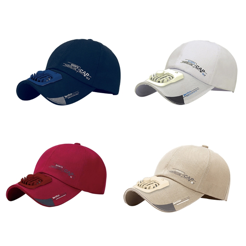 Unisex Summer USB Charging Cooling Fan Baseball Cap Outdoor Golf Sunscreen Letters Print 2 Speed Adjustable Peaked Hat