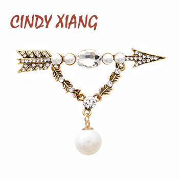 CINDY XIANG Rhinestone Arrow Brooches For Women 2 Colors Choose Vintage New Design Dangle Fashion Pins Autumn Winter Jewelry