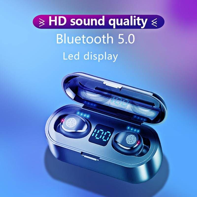 KUGE Wireless V5.0 Bluetooth Earphone HD Stereo Headphone Sports Waterproof Headset With Dual Mic and 2000mAh Battery Charge Cas