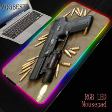 MRGBEST Cool Gun Game RGB Large Xl Lockedge Mouse Pad Player Big Computer Rubber Pads LED Backlit XXL Surface Mause Keyboard Mat
