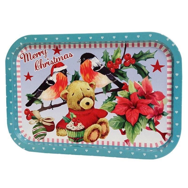 Рождественский жесть декоративный поднос для хранения пищи сервировочная тарелка Фруктовница праздничный Домашний Органайзер украшения - Цвет: 6
