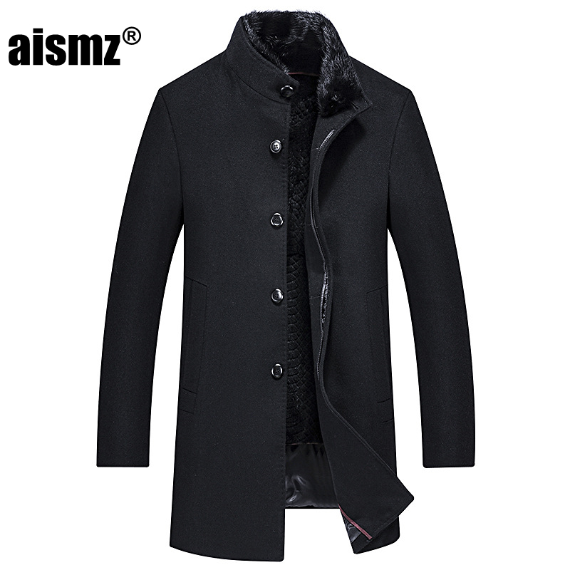 Aismz Luxury Quality Winter 90% White Duck Long   Down   Jacket Men Wool Cashmere Mink Fur Collar Business Casual Thick Warm   Coat