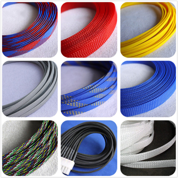 12 colors 4mm 6mm 8mm PET braided tube hose cable harness nylon mesh sheath extended three woven encrypted protection sleeve - discount item  20% OFF Electrical Equipment & Supplies
