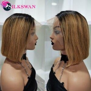 Image 2 - Silkswan Brasilianische Gerade Haar 13*4 Spitze Front perücken 1b/27 menschenhaar perücken für frauen Remy Haar 150% dichte Kurze Haare Perücke