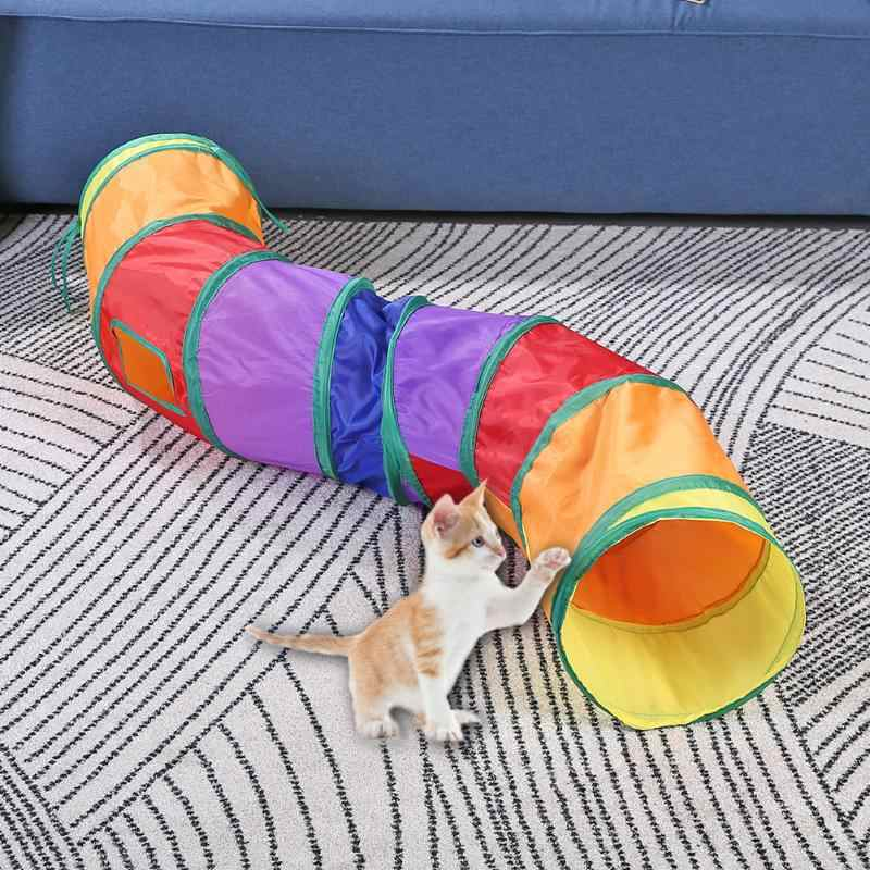 S 모양 고양이 터널 튜브 Collapsible 대화 형 애완 동물 놀이 장난감 실내 야외 고양이 키티 장난감 퍼즐 운동 숨기기 훈련
