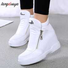 platform sneakers shoes white black casual shoes