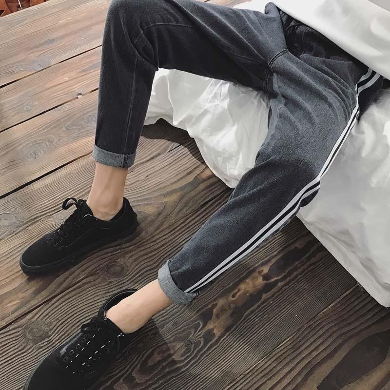 Pants Men's Korean-style Trend Capri Pants Summer Male STUDENT'S Versatile Athletic Pants Slim Fit Pants Teenager Jeans