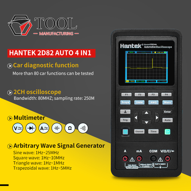 Handheld Oscilloscoop Hantek 2D82 Draagbare 4 In 1 Digitale Detector 80Mhz 2D82AUTO Signaal Bron Automotive Diagnostic 250msa/S