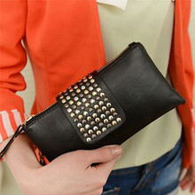 Women's Clutch Bag European And American Studded Black PU Soft Leather Mid-length Fashion Ladies Dinner With Double Zip Wallet
