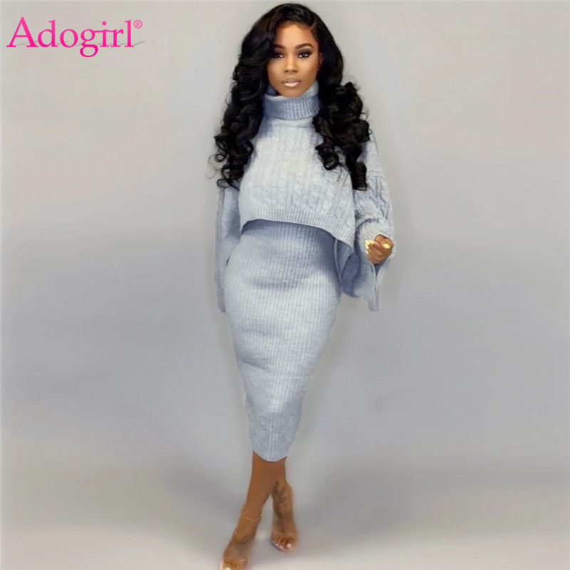 Adogirl 2019 Winter Sweater Two Piece Set Dress Turtleneck Long Sleeve Loose Crop Top Spaghetti Straps Bodycon Midi Skirt Suits