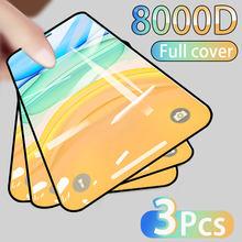 3 pçs capa completa de vidro protetor de tela para iphone 11 12 pro max filme de vidro temperado iphone x xr xs max borda curvada