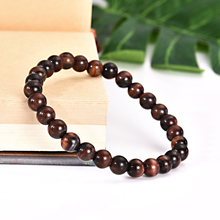 6mm Natural Red Tiger Eye Stone Round Beads Stretchy Bracelet Jewelry Charm Bracelet for Men