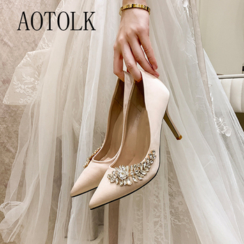 Women Wedding Shoes Female High Heels Rhinestone Silk Woman Pumps Pointed Toe Brand Party Shoes Plus Size New Arrival 2020 DE venchale shallow slip on convenient 2018 new arrival high heels pointed toe woman plus size shoes genuine leather woman pumps