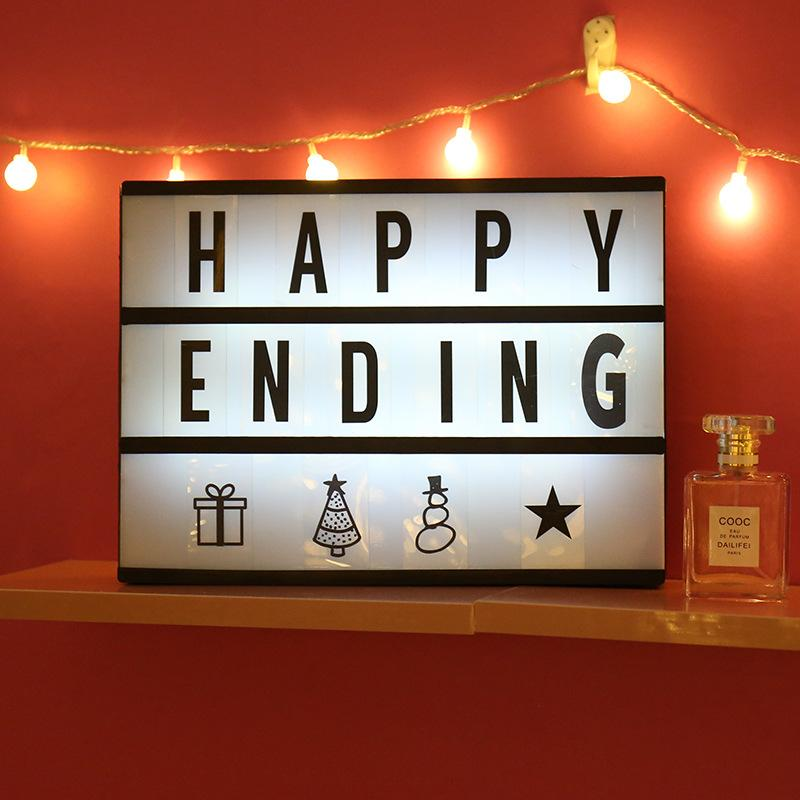 DIY LED Alphabet Puzzle Light Box Romantic Sign Box Lightbox Message Board Festive Birthday Gift Room Decoration