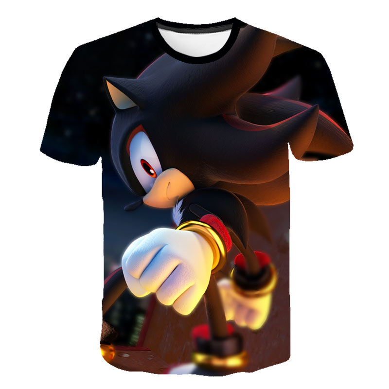 Children's Summer Short-sleeved T-shirts 3D Cartoon Printed Sonic Boys And Girls Casual T-shirts Street Boys Cartoon T-shirts