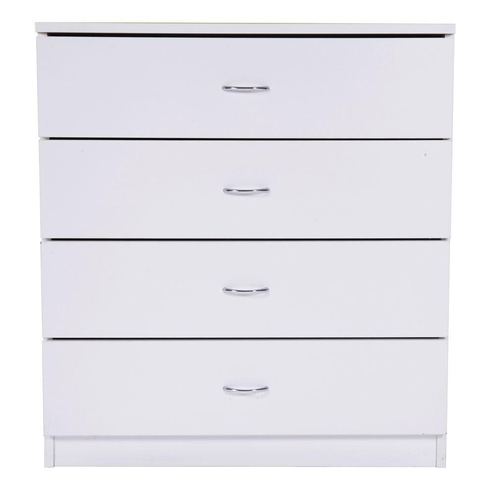 Branco mdf madeira mordern nightstands com 4 gavetas cômoda baús para o quarto/sala de estar como armário de armazenamento cama mesa-estoque dos eua