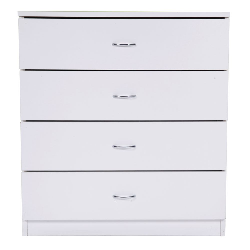 White MDF Wood Mordern Nightstands With 4-Drawer Dresser Chests For Bedroom/Living Room As Cabinet Storage Bed Table - US Stock