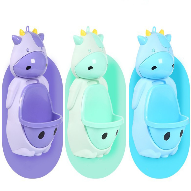 Kids Cow Potty Toilet Urinal Pee Trainer Wall-Mounted Potty Toilet Training Stand Children Baby Boy Bathroom Cow Urinal