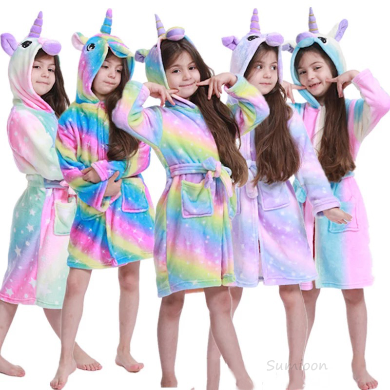Kigurumi Children Bathrobe Baby Bath Robe Animal Rainbow Unicorn Hooded Bathrobes For Boys Girl Pyjamas Nightgown Kids Sleepwear