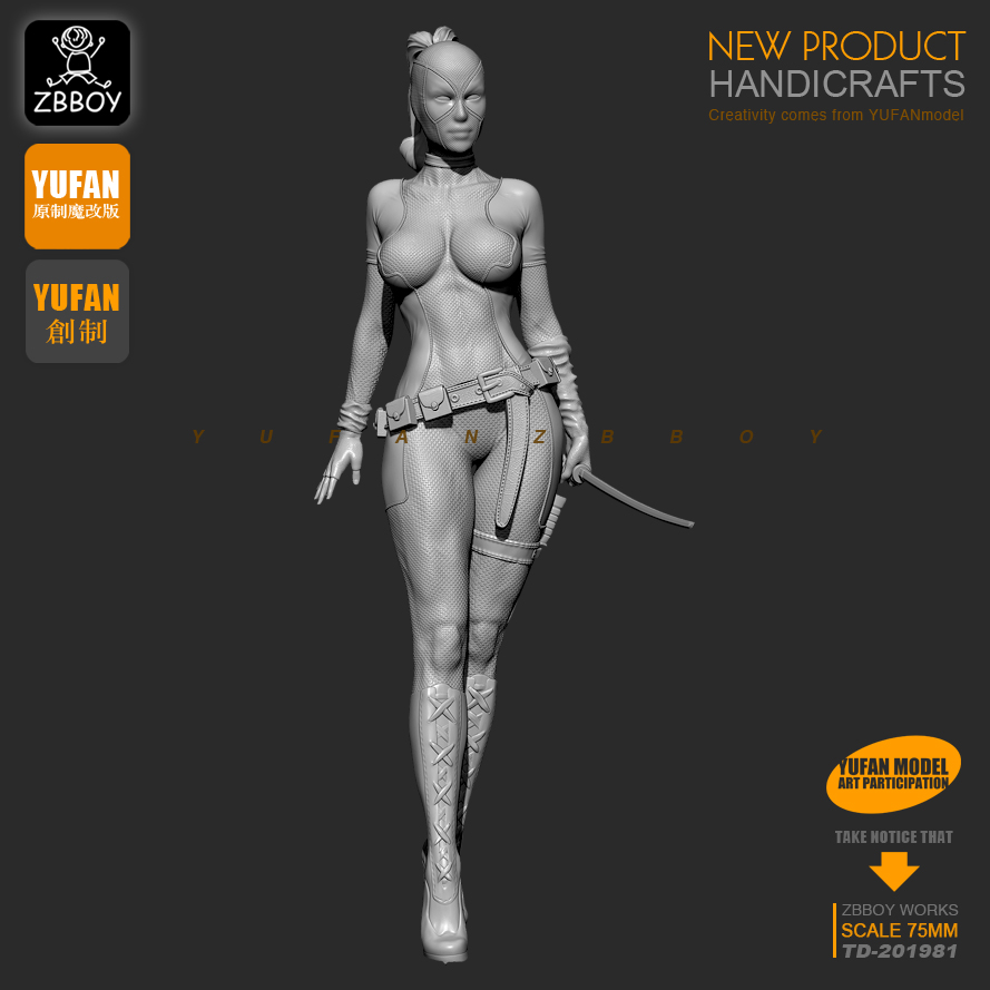 1 / 24 Resin Kits Lady Death Resin Soldier Model Self-assembled TD-201981